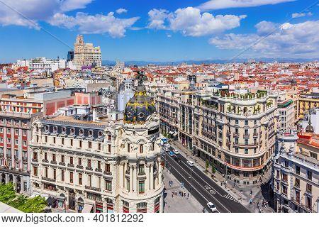 Madrid, Spain. Aerial View Of Gran Via, Main Shopping Street In Madrid.