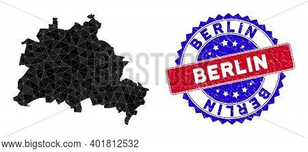 Berlin City Map Polygonal Mesh With Filled Triangles, And Rubber Bicolor Stamp. Triangle Mosaic Berl