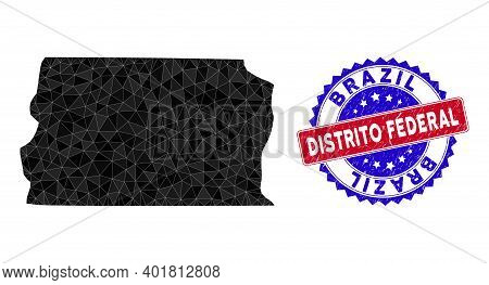 Brazil Distrito Federal Map Polygonal Mesh With Filled Triangles, And Textured Bicolor Stamp Seal. T