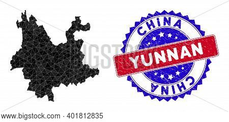 Yunnan Province Map Polygonal Mesh With Filled Triangles, And Rubber Bicolor Rubber Seal. Triangle M