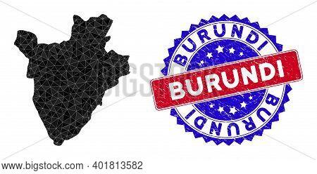 Burundi Map Polygonal Mesh With Filled Triangles, And Grunge Bicolor Watermark. Triangle Mosaic Buru