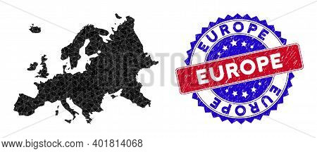 Europe Map Polygonal Mesh With Filled Triangles, And Distress Bicolor Stamp. Triangle Mosaic Europe