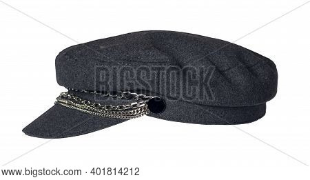 Fashion Dark Gray Hat With Visor Isolated On White Background.cap Female. Colored Hat .