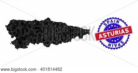 Asturias Province Map Polygonal Mesh With Filled Triangles, And Unclean Bicolor Stamp. Triangle Mosa