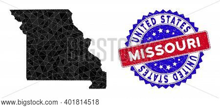 Missouri State Map Polygonal Mesh With Filled Triangles, And Distress Bicolor Rubber Seal. Triangle
