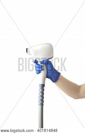 Laser Device For Removing Unwanted Hair In The Hand Of Nurse, Beautician. Laser Hair Removal, Cosmet