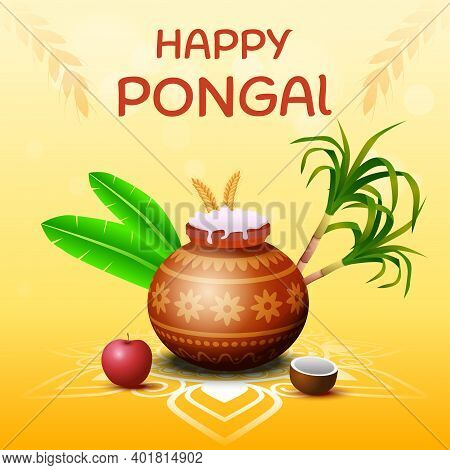 Happy Pongal South Indian Harvesting Festival Greeting Card Vector Illustration