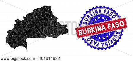 Burkina Faso Map Polygonal Mesh With Filled Triangles, And Scratched Bicolor Rubber Seal. Triangle M
