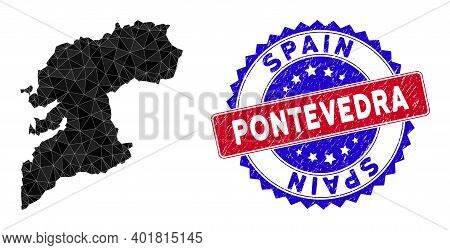 Pontevedra Province Map Polygonal Mesh With Filled Triangles, And Unclean Bicolor Stamp Print. Trian