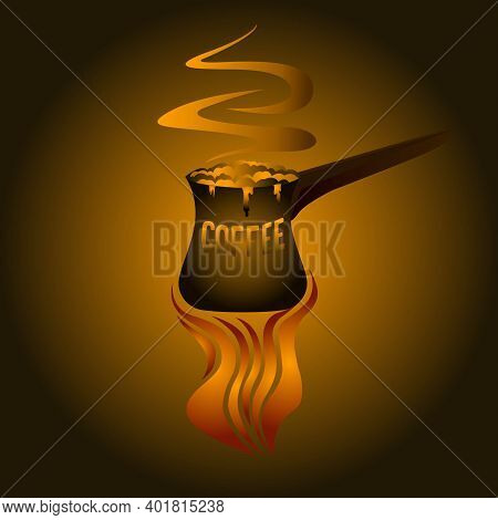 Vector Illustration Of Brewed Coffee Turk With Brewed Coffee On An Open Fire
