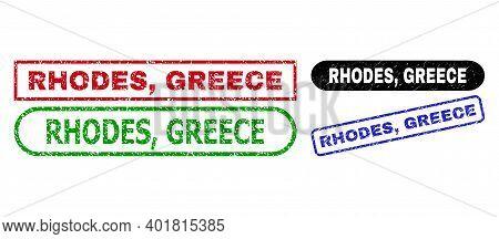 Rhodes, Greece Grunge Watermarks. Flat Vector Grunge Watermarks With Rhodes, Greece Tag Inside Diffe