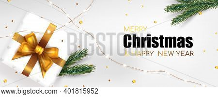 Christmas Background For Banner Merry Christmas And New Year. Xmas Fir Pine And Real Gift Box. Horiz
