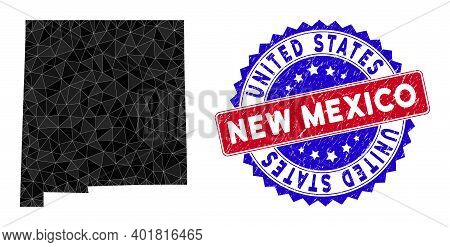 New Mexico State Map Polygonal Mesh With Filled Triangles, And Rubber Bicolor Stamp Print. Triangle