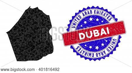 Dubai Emirate Map Polygonal Mesh With Filled Triangles, And Distress Bicolor Stamp Print. Triangle M
