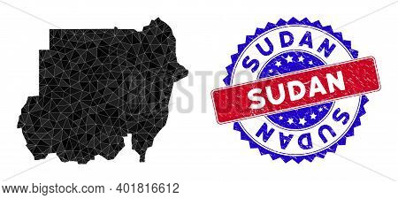 Sudan Map Polygonal Mesh With Filled Triangles, And Scratched Bicolor Stamp Imitation. Triangle Mosa