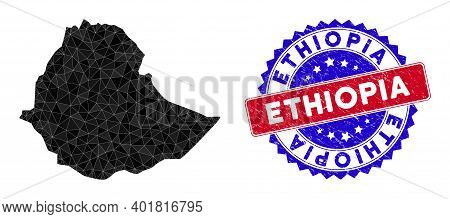 Ethiopia Map Polygonal Mesh With Filled Triangles, And Unclean Bicolor Seal. Triangle Mosaic Ethiopi