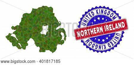Northern Ireland Map Polygonal Mesh With Filled Triangles, And Textured Bicolor Stamp. Triangle Mosa