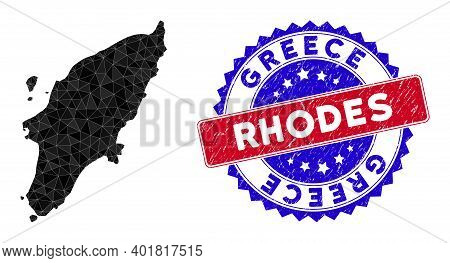 Greek Rhodes Island Map Polygonal Mesh With Filled Triangles, And Rubber Bicolor Seal. Triangle Mosa