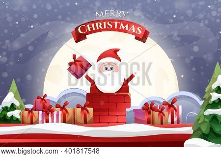 Cartoon Santa Claus With Gifts Going Down To The Treasure Against The Background Of The Moon. Merry