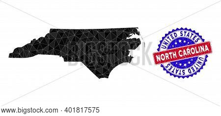 North Carolina State Map Polygonal Mesh With Filled Triangles, And Textured Bicolor Rubber Seal. Tri