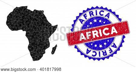 Africa Map Polygonal Mesh With Filled Triangles, And Rough Bicolor Seal. Triangle Mosaic Africa Map