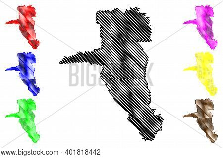 Uasin Gishu County (republic Of Kenya, Rift Valley Province) Map Vector Illustration, Scribble Sketc