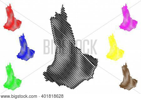 West Pokot County (republic Of Kenya, Rift Valley Province) Map Vector Illustration, Scribble Sketch