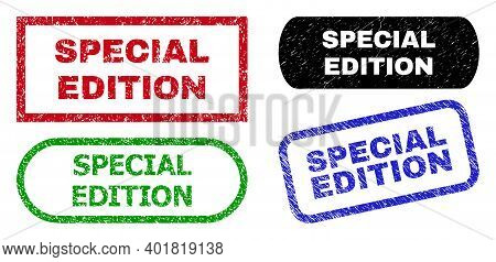 Special Edition Grunge Watermarks. Flat Vector Distress Watermarks With Special Edition Text Inside