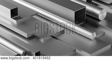Brushed Aluminum Profiles Stack Or Heap Frame Filling Background, Metal Manufactoring Or Product Con