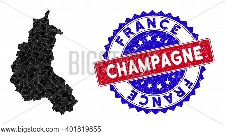 Champagne Province Map Polygonal Mesh With Filled Triangles, And Rubber Bicolor Rubber Seal. Triangl