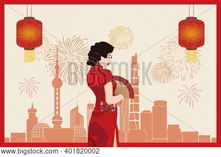 Young Asian Woman In Red Chinese Traditional Clothing (qi Pao) Against City Background