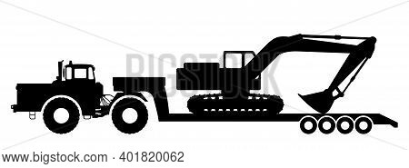 Silhouette Of An Excavator On A Tractor Trawl.