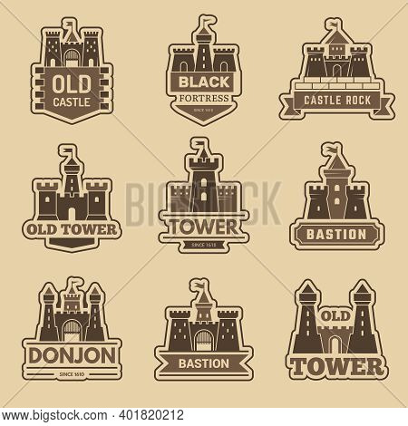 Castle Logo. Medieval Architectural Castles With Towers Fort Silhouettes Vector Monochrome Logotype