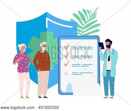 Health Insurance For Seniors. Medical Service, Elderly People Exam In Hospital. Doctor For Old Perso