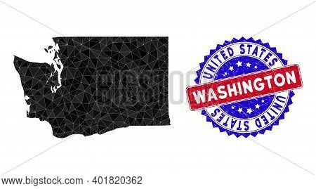 Washington State Map Polygonal Mesh With Filled Triangles, And Scratched Bicolor Stamp Seal. Triangl