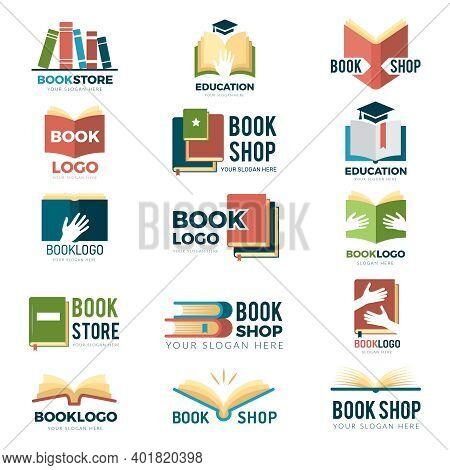 Book Symbols. Reading Club Identity Stylized Pictures Publishing Logotype Magazines And Reading Book