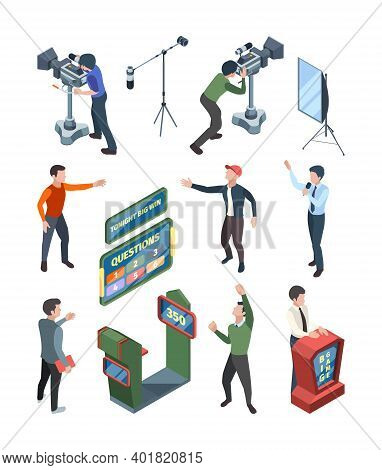 Game Tv Show. Question Tv Quiz Playing Participant Isometric Characters Standing Near Tribunes With