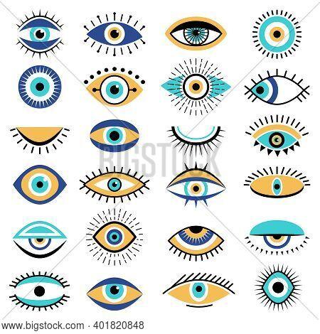 Evil Eyes Symbols. Illuminati Tattoo Graphic Sketch Hipster Ethnic Traditional Vector Pictures. Illu