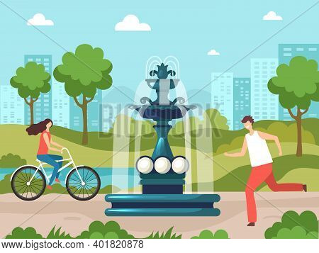 Fountain In Park. Nature Background Urban Garden With Water Decorative Fountain Ornate Objects Vecto