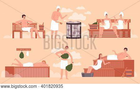 Sauna Bathing. People Relaxing In Public Sauna And Washing Room Wellness Spa Body Recreation Pool Ac