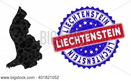 Liechtenstein Map Polygonal Mesh With Filled Triangles, And Textured Bicolor Watermark. Triangle Mos