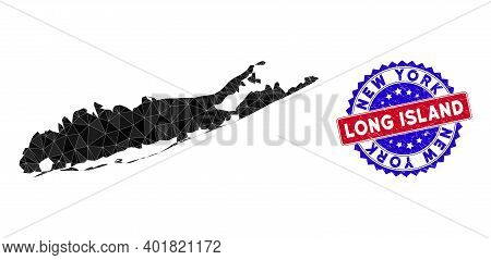 Long Island Map Polygonal Mesh With Filled Triangles, And Rough Bicolor Seal. Triangle Mosaic Long I