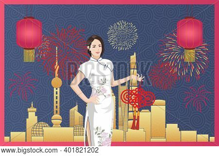 Young Asian Woman In White Chinese Traditional Clothing (qi Pao) Against City Background