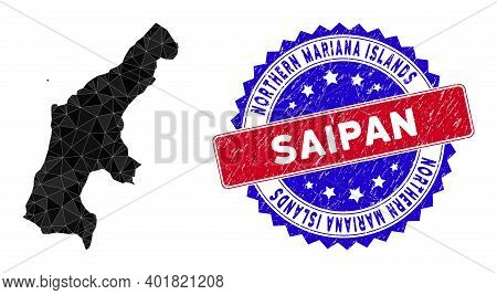 Saipan Island Map Polygonal Mesh With Filled Triangles, And Rough Bicolor Seal. Triangle Mosaic Saip