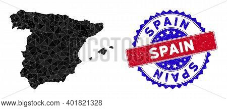 Spain Map Polygonal Mesh With Filled Triangles, And Grunge Bicolor Seal. Triangle Mosaic Spain Map W