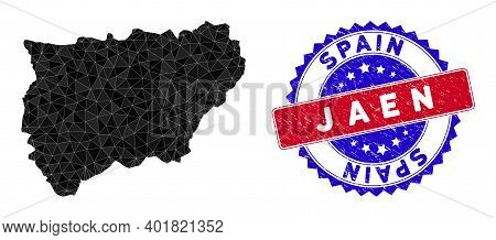 Jaen Spanish Province Map Polygonal Mesh With Filled Triangles, And Distress Bicolor Rubber Seal. Tr