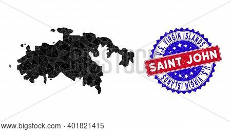 Saint John Island Map Polygonal Mesh With Filled Triangles, And Grunge Bicolor Stamp Seal. Triangle