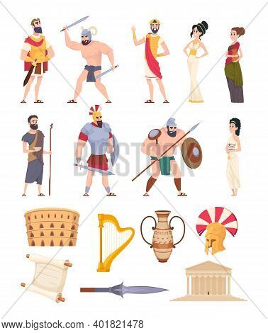 Rome Elements. Cultural Ancient Traditional Objects And Architectural Constructions Historic Charact