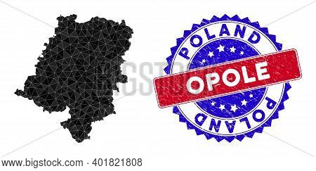 Opole Voivodeship Map Polygonal Mesh With Filled Triangles, And Unclean Bicolor Watermark. Triangle