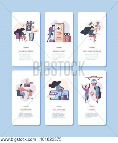 E-commerce Onboard Banners. Digital Smartphone Screen Illustrations Online Retail People Buyers Vect